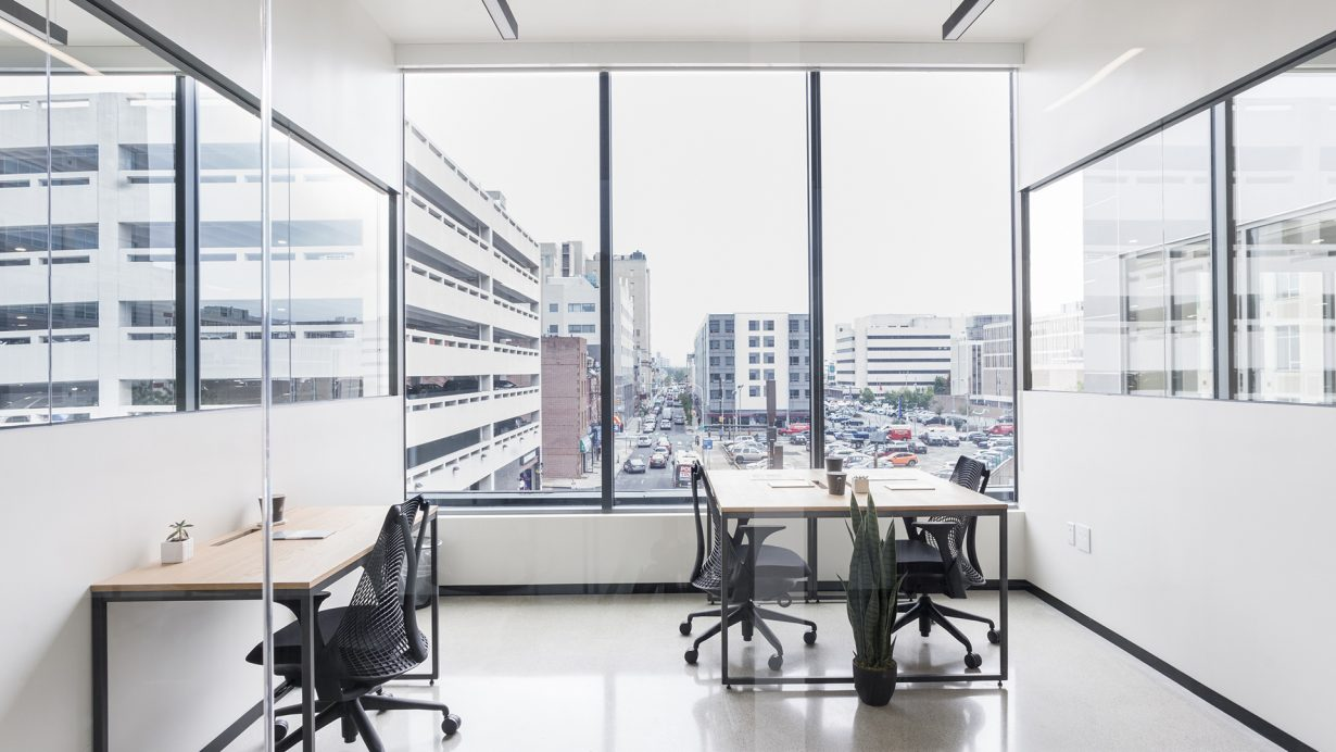 Office have plenty of natural light and afford views of the city.